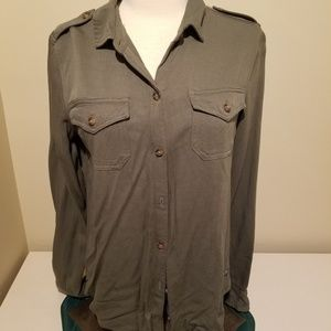 Hollister Small Army Green Button Down Shirt NWT